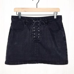 Kendall & Kylie | Lace-up Denim Mini-Skirt Sz. 28